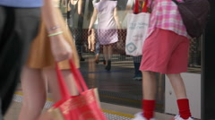 Time-lapse scene of commuters rushing for transport Stock Footage