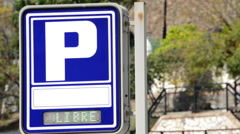 Car parking sign with the word free Stock Footage