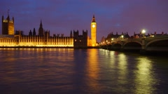 Night Time In London Timelapse Big Ben Tower Stock Footage