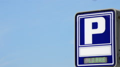 Car parking sign with free indicative Stock Footage