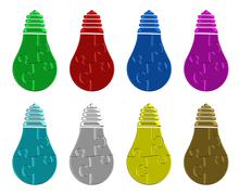 Bulb made of puzzle pieces - stock illustration