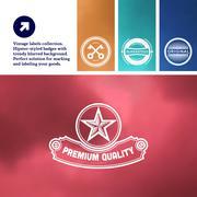 Vintage premium labels set on tile structured layout and blurred background - stock illustration