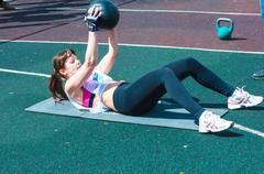 Stock Photo of Girls compete in fitness Crossfit