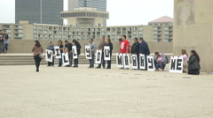 4K Wedding proposal -Will you marry me signs held by people Stock Footage