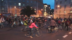 Crowd of Rowdy Bicyclists in London City Stock Footage