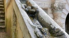 Railing with water. Villa d'Este. Tivoli, Italy Stock Footage