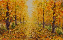 Autumn landscape, beautiful park on painting. Golden autumn. Stock Illustration