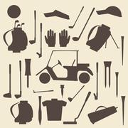 Golf sport items silhouette icon set.  Driver, wood, iron, wedge, putter golf Stock Illustration