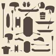 Rafting sport items silhouette icon set. Oar and paddle rafts. Cataraft and i Stock Illustration