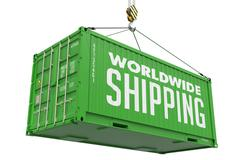 Worldwide Shipping- Green Hanging Cargo Container - stock illustration