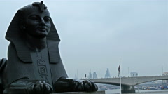 The famous black Cleopatras Needle in London Stock Footage