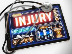 Injury on the Display of Medical Tablet - stock illustration