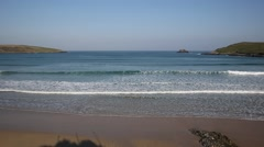 Waves and sea Crantock surfing beach near Newquay Cornwall Stock Footage