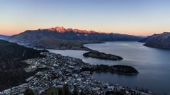 Aerial timelapse of Queenstown downtown at dusk, South Island, New Zealand in 4k Stock Footage