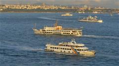 Heavy boat traffic Bosphorus Straits Istanbul Turkey - 4K UHD 737 Stock Footage