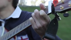 Male hands playing the guitar. Romance, Dating, love Stock Footage