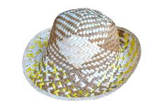 Handmade Straw Hat Isolated on white background Stock Photos