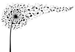 Music dandelion flower, vector Piirros