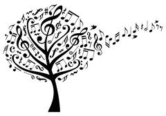 Music tree with treble clefs and flying musical notes, vector illustration Stock Illustration