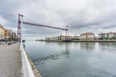 Ultra Wide view of the Bizkaia suspension bridge and promenade Stock Photos