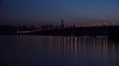 Right Bank of Kiev and Road Bridge - Paton Bridge under the River Dnepr at Night Stock Footage