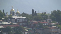 CRIMEA. AUGUST 2009: Old small town Gurzuf (Hurzuf) from the viewpoint Stock Footage