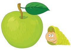 Snail on apple Stock Illustration