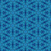 Blue tileable mosaic pattern in art noveau style Stock Illustration