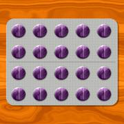 Purple pills in gray metal blister Stock Illustration