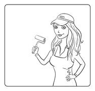 Girl painter with a paint roller, contours Stock Illustration
