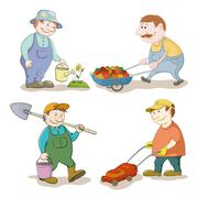 Cartoon: gardeners work Stock Illustration