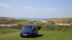 Volkswagen VW T4 Transporter Crantock North Cornwall Stock Footage
