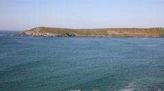 Cornish cove Crantock Cornwall UK PAN - stock footage