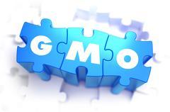 GMO - White Abbreviation on Blue Puzzles Stock Illustration