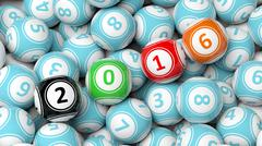 Lucky colorful balls with 2016 numbers on pile - stock illustration