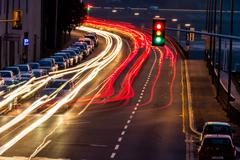 traffic in city at night - stock photo