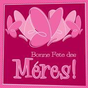 Hand Drawn French Happy Mother's Day card in vector format. - stock illustration