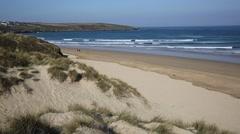 Crantock beach PAN North Cornwall UK Stock Footage