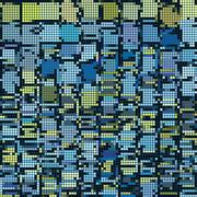 round pixel abstract background in blue yellow - stock illustration