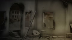 View inside destroyed building. - stock footage