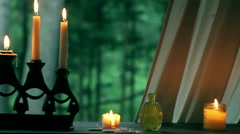 Vintage glass, candles, candelabrum pan Stock Footage