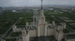 Moscow State University named after Mikhail Lomonosov, aerial view Stock Footage