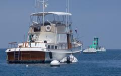Yacht Moored at Santa Catalina Island Stock Photos