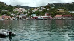 Grenada island Caribbean Sea 008 St. George's city houses at hillside in the bay Stock Footage