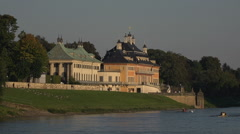 Pillnitz castle at the Elbe River in Dresden Germany. Stock Footage