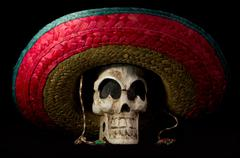 Dia De Los Muertos - Day of The Dead Skull With Sombrero - stock photo