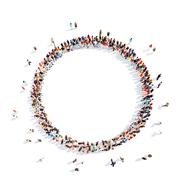 people in a circle of interest - stock illustration