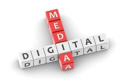 Buzzwords digital media - stock photo