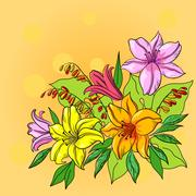 Flower background, lily and mine Stock Illustration