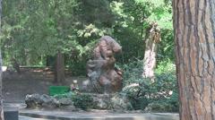CRIMEA. AUGUST 2011: Fountain of bears in the park Stock Footage